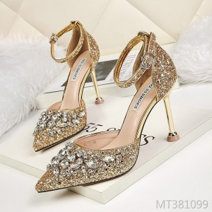 Korean fashion pointed sequined high heels