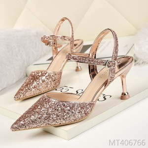 European and American sexy pointed sequined high heels