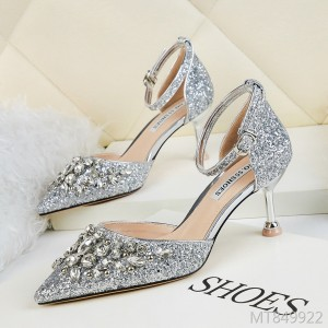 European and American sexy pointed shallow mouth rhinestone high heels
