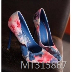 2019 new stiletto floral pointed single shoes high heels