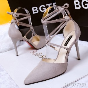 European and American suede pointed cross straps high heels