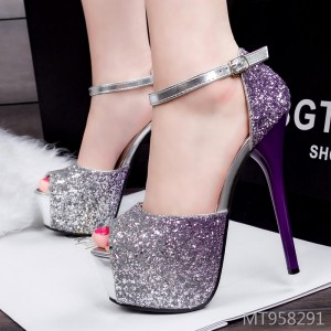 Europe and America super high heel sexy super flashing color nightclub women's shoes