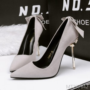 Korean version of suede pointed shallow mouth stiletto heels
