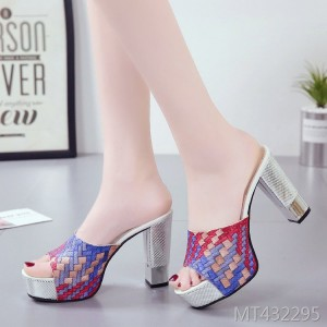 2019 new sandals thick high heel women's slippers