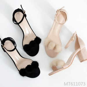2019 new high-heeled thick with fur high heels