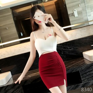 Sexy leaking chest dew backpack hip hit color female short skirt nightclub