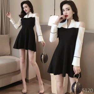 Off-the-shoulder small stand-up collar to receive waist bottom dress