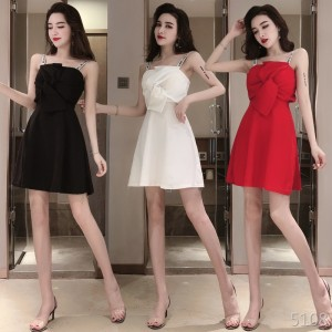 Korean version of the backless sling low-cut big bow dress