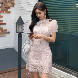 2019 sexy lace French temperament dress