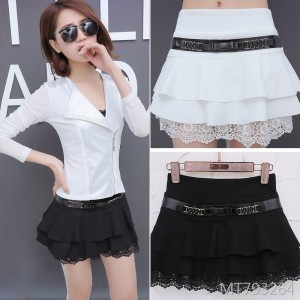 Korean version of the anti-lighting skirt solid color skirt with safety pants A word skirt chain decoration