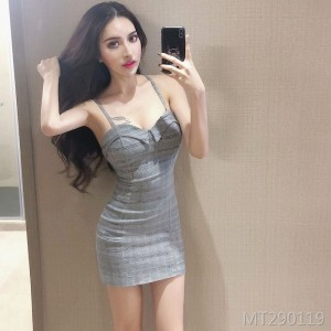 Low-cut backless cross vintage tight-fitting hip strap dress summer