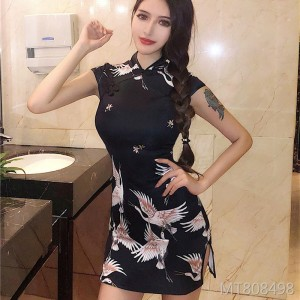 Black printed retro improved cheongsam split hip dress