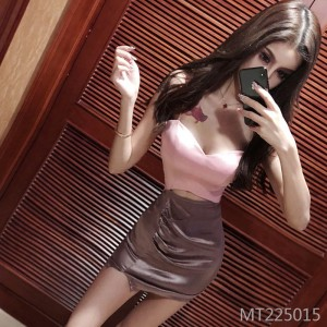 Low-cut V-neck waist color matching tight-fitting hip strap dress