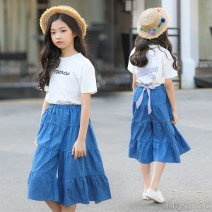 2019 summer children's clothing girls denim suit Korean version