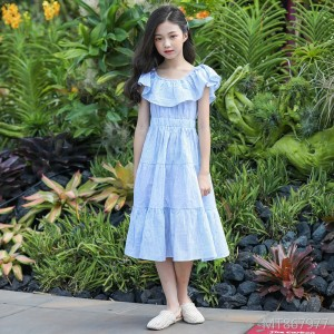Girls striped dress summer 2019 new fashion children's skirt
