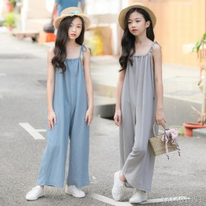 2019 new one-piece wide-leg pants summer fashion casual solid color