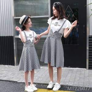 Two-piece strap skirt letter women's western style plaid dress
