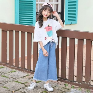 2019 new jeans Korean version of the big boy tassel wide leg pants