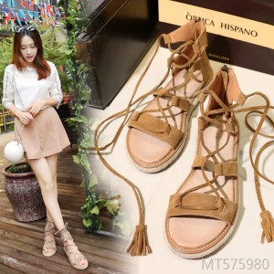 2019 summer Roman leather flat shoes straw braided ties