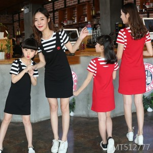 Mother and girl girl fake two-piece dress short-sleeved stripes