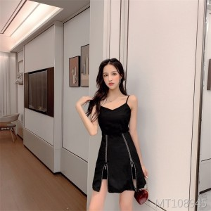 High waist temperament heart sexy nightclub split dress set