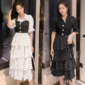 2019 new home long skirt wave cake dress