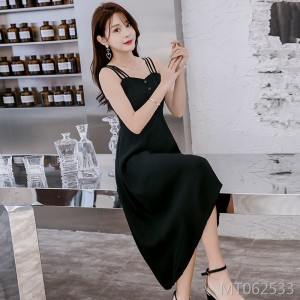 Off-the-shoulder waist slimming female Hepburn small black dress ins super fire skirt
