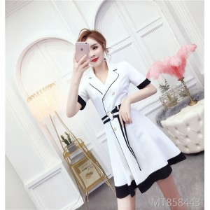 Sexy temperament suit collar stitching double-breasted waist short-sleeved dress