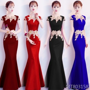 Embroidered flower dress annual meeting fishtail skirt wedding party evening dress