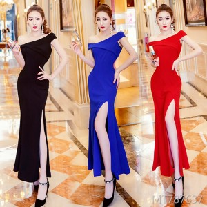 One-shoulder dress long dress female slim slimming dress