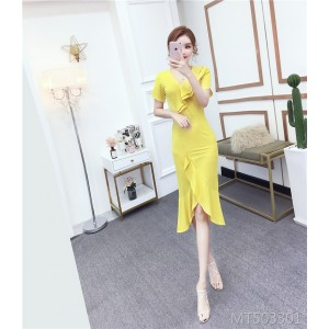 Temperament V-neck dress Slim ruffled skirt with irregular mid-length skirt