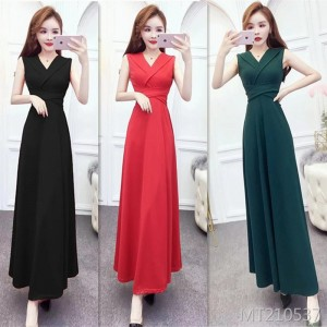 Banquet temperament noble ladies simple dress long skirt