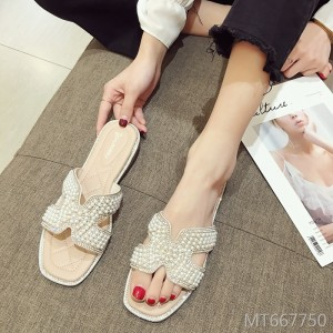 Ms. Xia Pearl Fashion Flat Net Red Joker Slippers