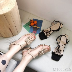 Rhinestone buckle fairy shoes with wild word buckle with thick sandals women