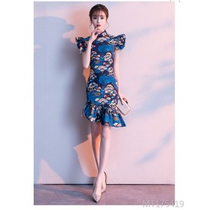 Vintage Chinese style sexy improved small fresh fishtail dress