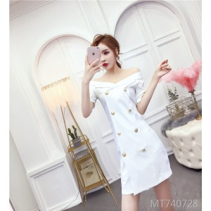 One-neck sexy double-breasted slim slimming professional women's dress