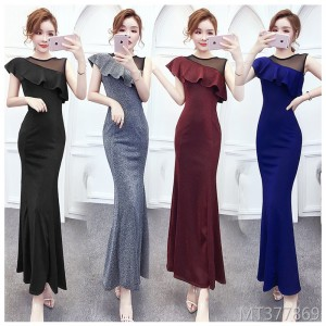 Lace stitching mesh bright silk sexy dress female bag hip fishtail dress