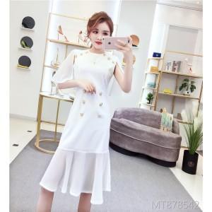 Stitching chiffon dress banquet dress summer female 2019 new Korean version