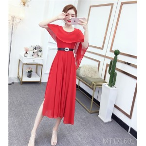 Waist-decorated temperament slim cape dress