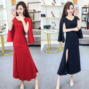 Fishtail long elegant evening dress banquet host dress