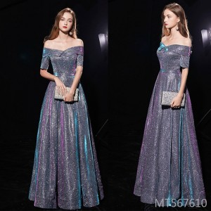 One-shoulder shoulders slim and long paragraph noble spring party banquet host dress