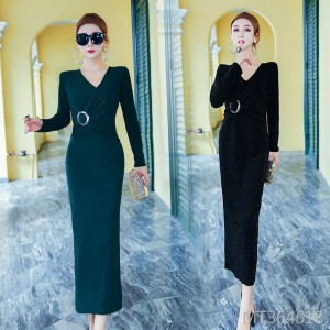 Sexy V-neck long skirt slim bag hip split dress dress