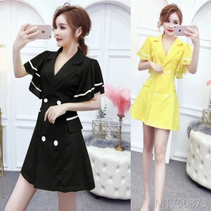 Wind small suit collar slim dress female chiffon stitching