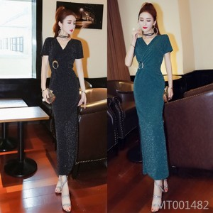 Low-cut V-neck long skirt Slim bag hip split dress dress