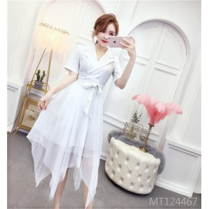 New summer women's temperament was thin waist professional mesh skirt
