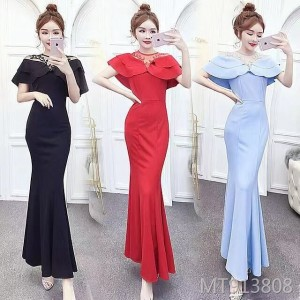 Fishtail long shoulders slimming evening dress dress