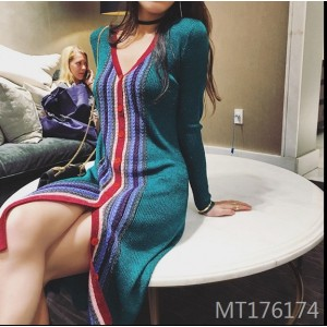 Colorblock single-breasted knit color cardigan dress