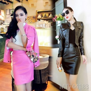 Temperament sexy slim leather jacket short jacket bag hip skirt