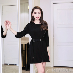 Slim-fit black dress harbor wind chic skirt