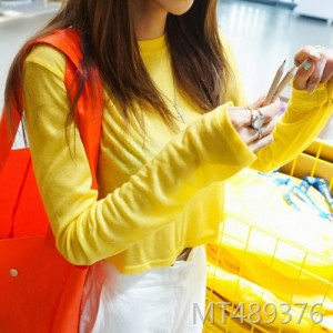 Korea bright yellowish navel short t-shirt summer female